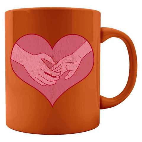 Kent Prints Colored Mug 11oz / Orange Hand holding in a heart universal grunge - Colored Mug