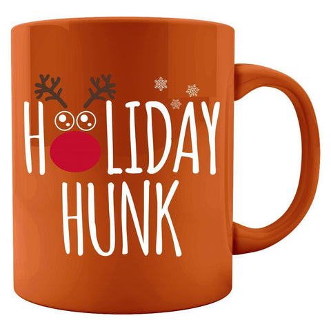 Kent Prints Colored Mug 11oz / Orange Holiday Hunk Christmas - Colored Mug