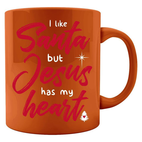 Kent Prints Colored Mug 11oz / Orange I Like Santa But Jesus Has My Heart - Colored Mug