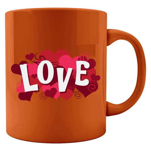Kent Prints Colored Mug 11oz / Orange Love sign with hearts universal - Colored Mug