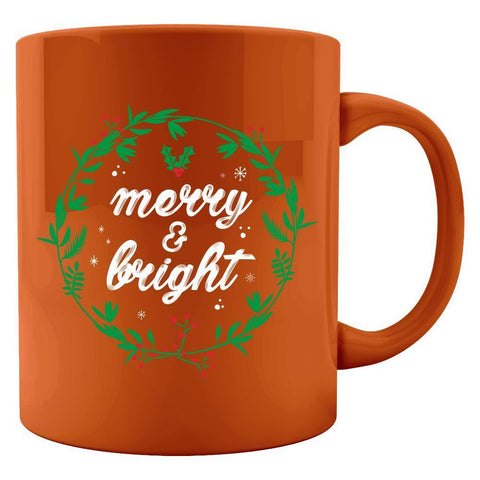 SayPrints Colored Mug 11oz / Orange Merry and Bright Colored Coffee Tea Mug