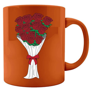 Kent Prints Colored Mug 11oz / Orange Valentine's Day roses universal - Colored Mug
