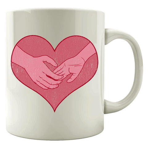 Kent Prints Colored Mug 11oz / White Hand holding in a heart universal grunge - Colored Mug