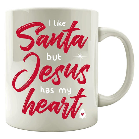 Kent Prints Colored Mug 11oz / White I Like Santa But Jesus Has My Heart - Colored Mug
