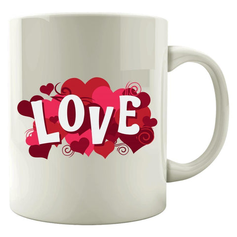 Kent Prints Colored Mug 11oz / White Love sign with hearts universal - Colored Mug