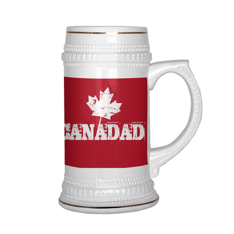 teelaunch Drinkware Canadad Canadad Red Beer Stein 22 oz