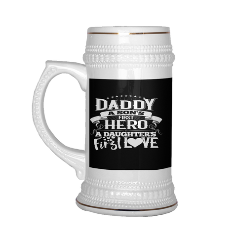 Image of teelaunch Drinkware Dadsondaughter Daddy Son Daughter Beer Stein 22 oz