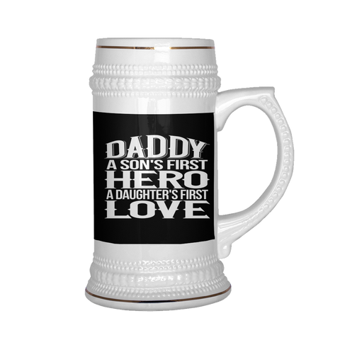 Image of teelaunch Drinkware Dadsondaughter2 Daddy Son Daughter Beer Stein 22 oz