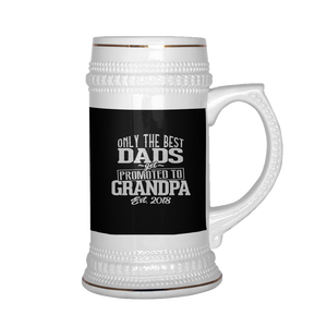 Best Dad Promoted To Grandpa  Beer Stein 22 oz