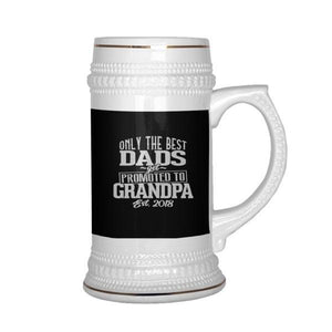 teelaunch Drinkware Dadtograndad Best Dad Promoted To Grandpa  Beer Stein 22 oz