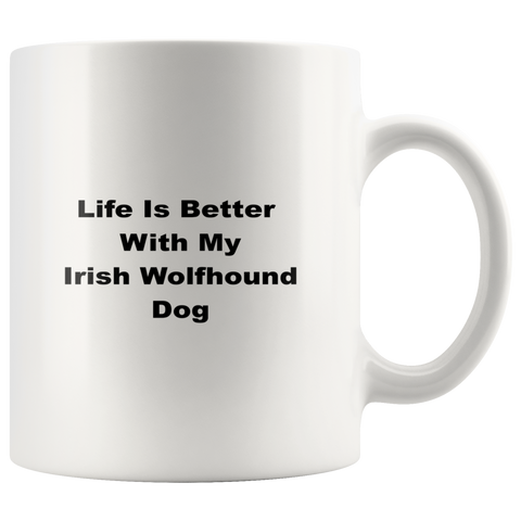 teelaunch Drinkware Irish Wolfhound Dog Irish Wolfhound Dog Coffee Tea Mug White 11 oz