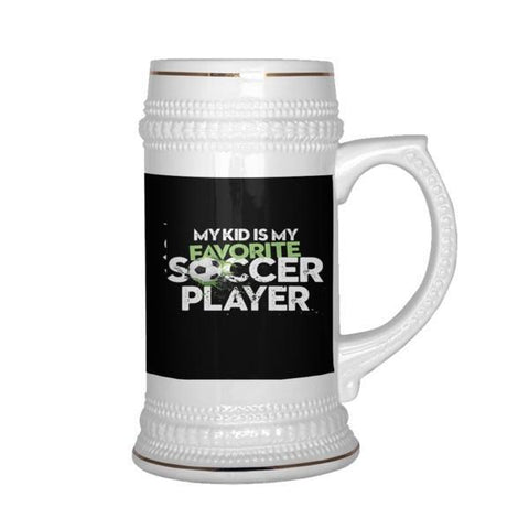 teelaunch Drinkware Kidfavsoccerplayer Kid Favourite Soccer Player Beer Stein 22 oz