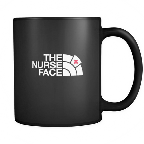 teelaunch Drinkware Nurse face The Nurse Face Coffee Tea Mug Black 11 oz