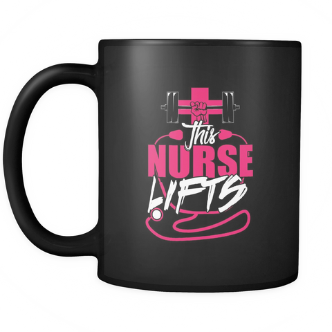 teelaunch Drinkware Nurselifts(Black) Nurse Lifts Coffee Tea Mug Black 11 oz