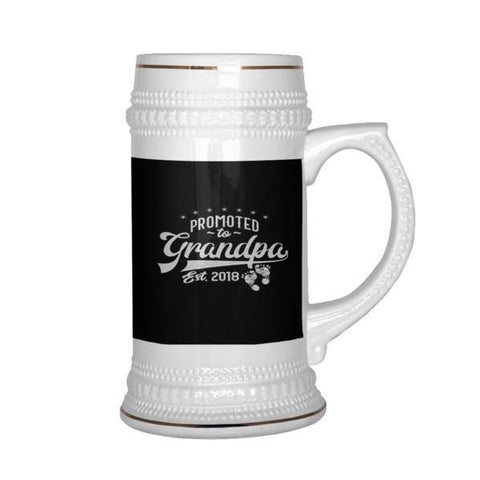teelaunch Drinkware Promotedtograndpa Promoted To Grandpa Beer Stein 22 oz