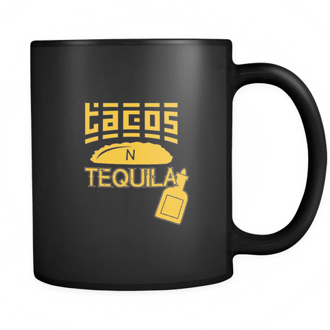 Image of teelaunch Drinkware Tacos Tequila Tacos and Tequila  Coffee Tea Mug Black 11 oz