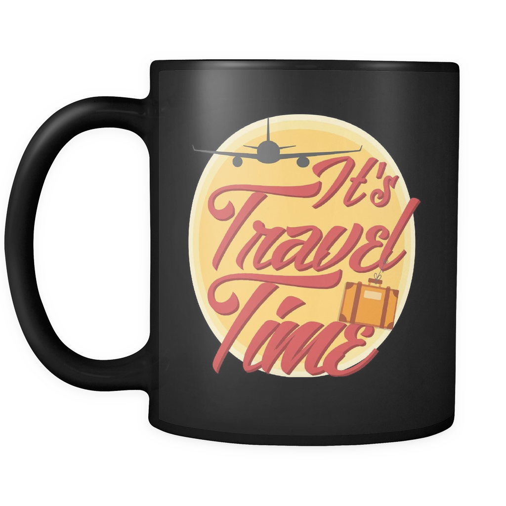 teelaunch Drinkware Traveltime(Black) Travel Time Coffee Tea Mug Black 11 oz