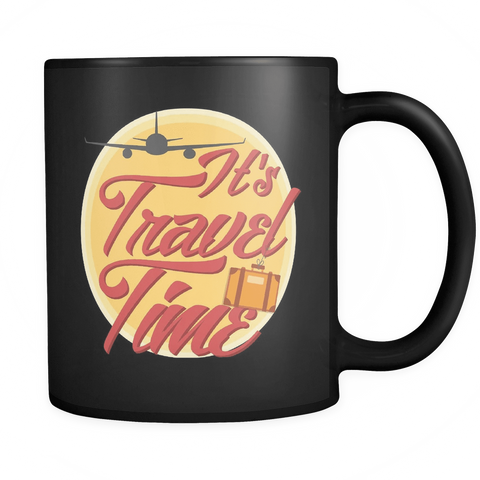 Image of teelaunch Drinkware Traveltime(Black) Travel Time Coffee Tea Mug Black 11 oz