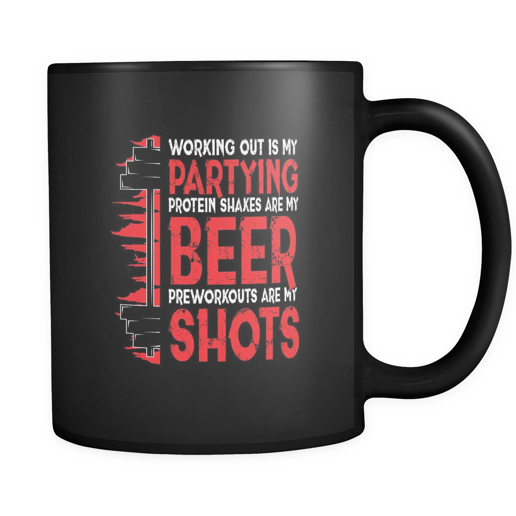 teelaunch Drinkware Workingoutpartying(Black) Working Out Partying Coffee Tea Mug Black 11 oz