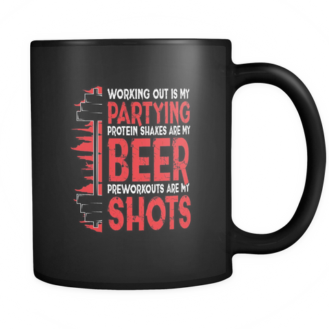 Image of teelaunch Drinkware Workingoutpartying(Black) Working Out Partying Coffee Tea Mug Black 11 oz