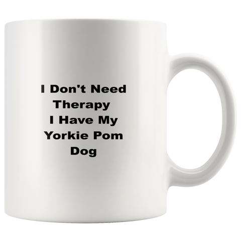 Image of teelaunch Drinkware Yorkie Pom Yorkie Pom Dog Coffee Tea Mug White 11 oz