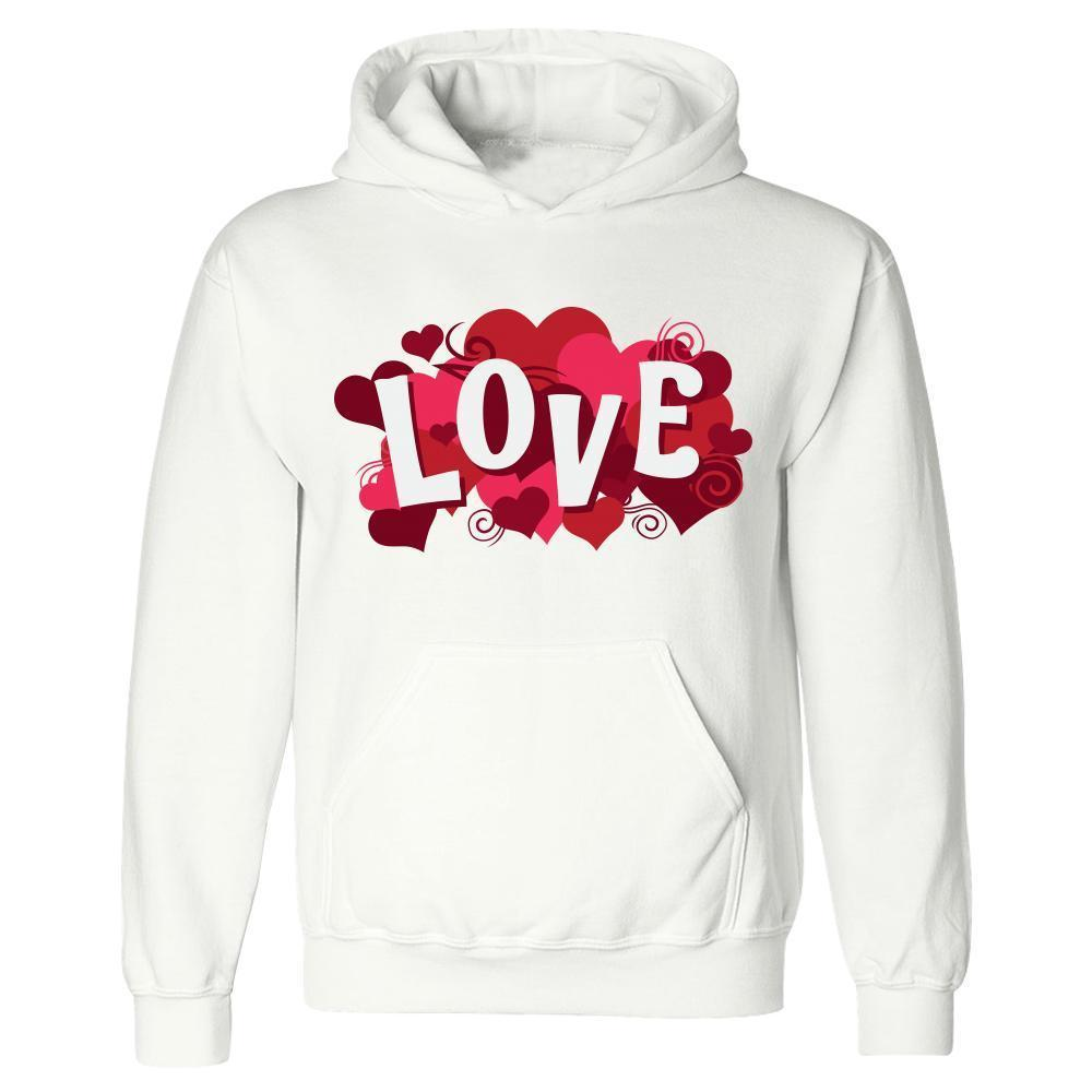 Kent Prints Hoodie 5XL / White Love sign with hearts universal - Hoodie