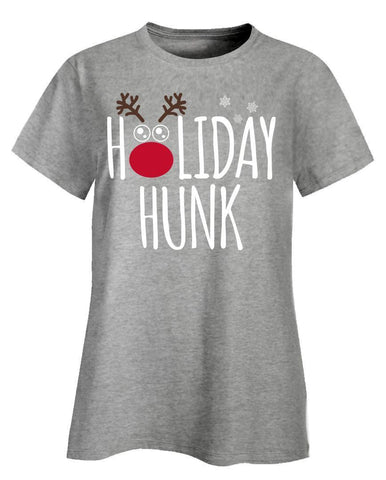 Kent Prints Ladies T-Shirt 2XL / Ash Grey Holiday Hunk Christmas - Ladies T-Shirt