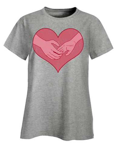 Kent Prints Ladies T-Shirt 3XL / Ash Grey Hand holding in a heart universal grunge - Ladies T-Shirt