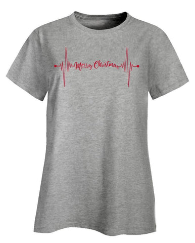 Kent Prints Ladies T-Shirt 3XL / Ash Grey Heartbeat Merry Christmas - Ladies T-Shirt