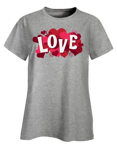 Kent Prints Ladies T-Shirt 3XL / Ash Grey Love sign with hearts universal - Ladies T-Shirt