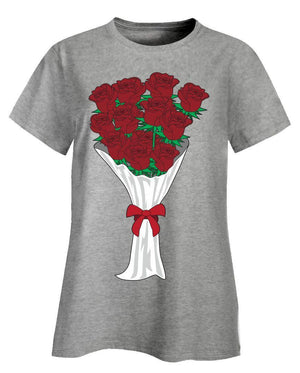 Kent Prints Ladies T-Shirt 3XL / Ash Grey Valentine's Day roses universal - Ladies T-Shirt