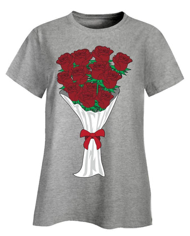 Image of Kent Prints Ladies T-Shirt 3XL / Ash Grey Valentine's Day roses universal - Ladies T-Shirt