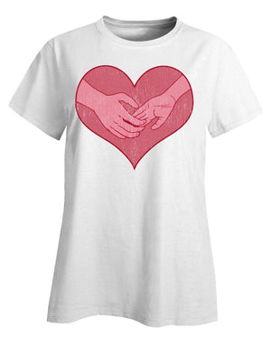 Hand holding in a heart universal grunge - Ladies T-Shirt
