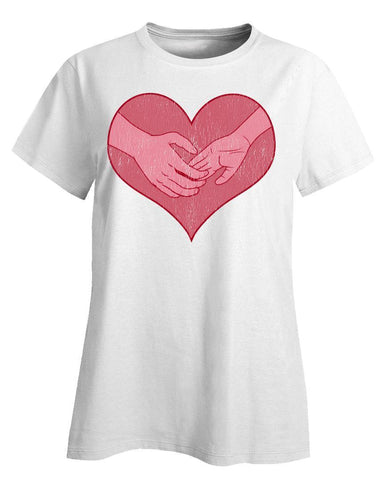 Kent Prints Ladies T-Shirt 3XL / White Hand holding in a heart universal grunge - Ladies T-Shirt