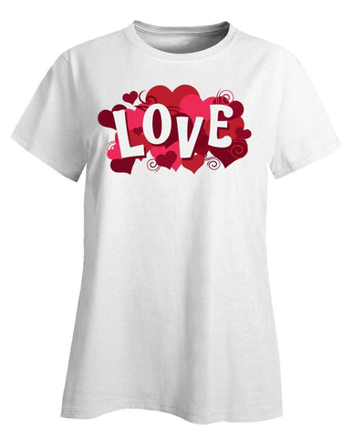 Kent Prints Ladies T-Shirt 3XL / White Love sign with hearts universal - Ladies T-Shirt
