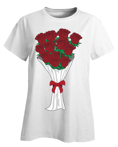 Kent Prints Ladies T-Shirt 3XL / White Valentine's Day roses universal - Ladies T-Shirt
