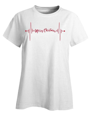 Kent Prints Ladies T-Shirt L / White Heartbeat Merry Christmas - Ladies T-Shirt