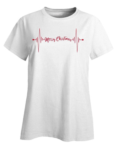 Image of Kent Prints Ladies T-Shirt L / White Heartbeat Merry Christmas - Ladies T-Shirt