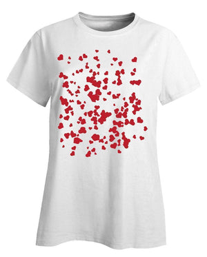 Kent Prints Ladies T-Shirt XL / White Hearts background pattern universal - Ladies T-Shirt