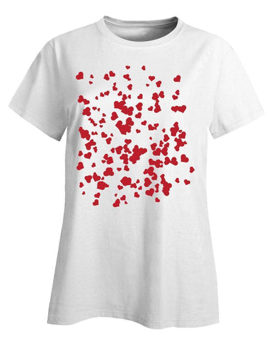 Image of Kent Prints Ladies T-Shirt XL / White Hearts background pattern universal - Ladies T-Shirt
