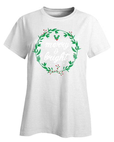 Kent Prints Ladies T-Shirt XL / White Merry and Bright-FA - Ladies T-Shirt