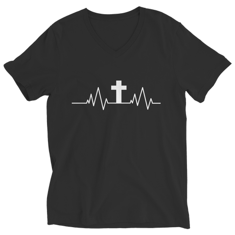 PT Ladies V-Neck Ladies V-Neck / Black / S Christian Heartbeat Cross
