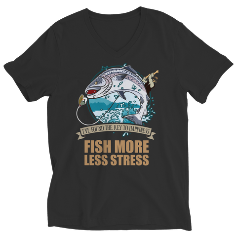 PT Ladies V-Neck Ladies V-Neck / Black / S Fish More Less Stress