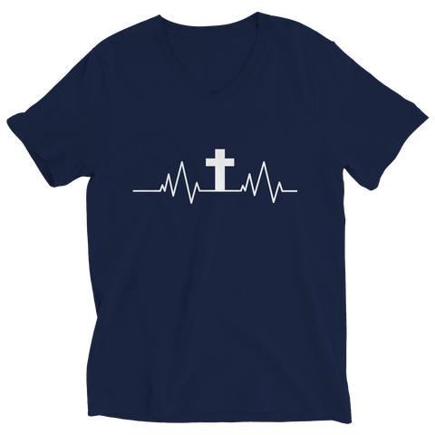 PT Ladies V-Neck Ladies V-Neck / Navy / S Christian Heartbeat Cross