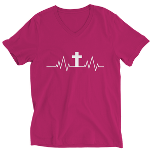 PT Ladies V-Neck Ladies V-Neck / Pink / S Christian Heartbeat Cross