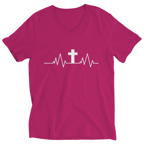 Image of PT Ladies V-Neck Ladies V-Neck / Pink / S Christian Heartbeat Cross