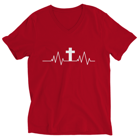 PT Ladies V-Neck Ladies V-Neck / Red / S Christian Heartbeat Cross