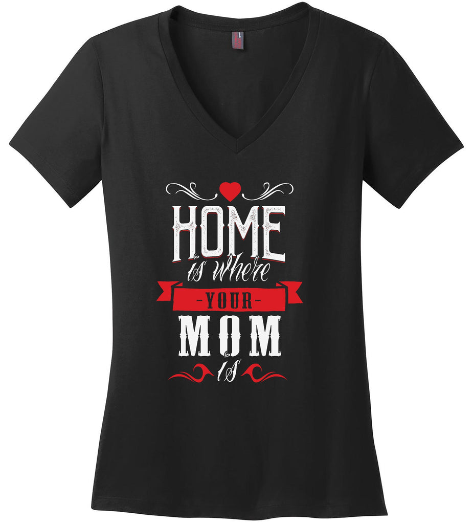 Kent Prints Ladies V-Neck S / Black Ladies V Neck Tee Mom