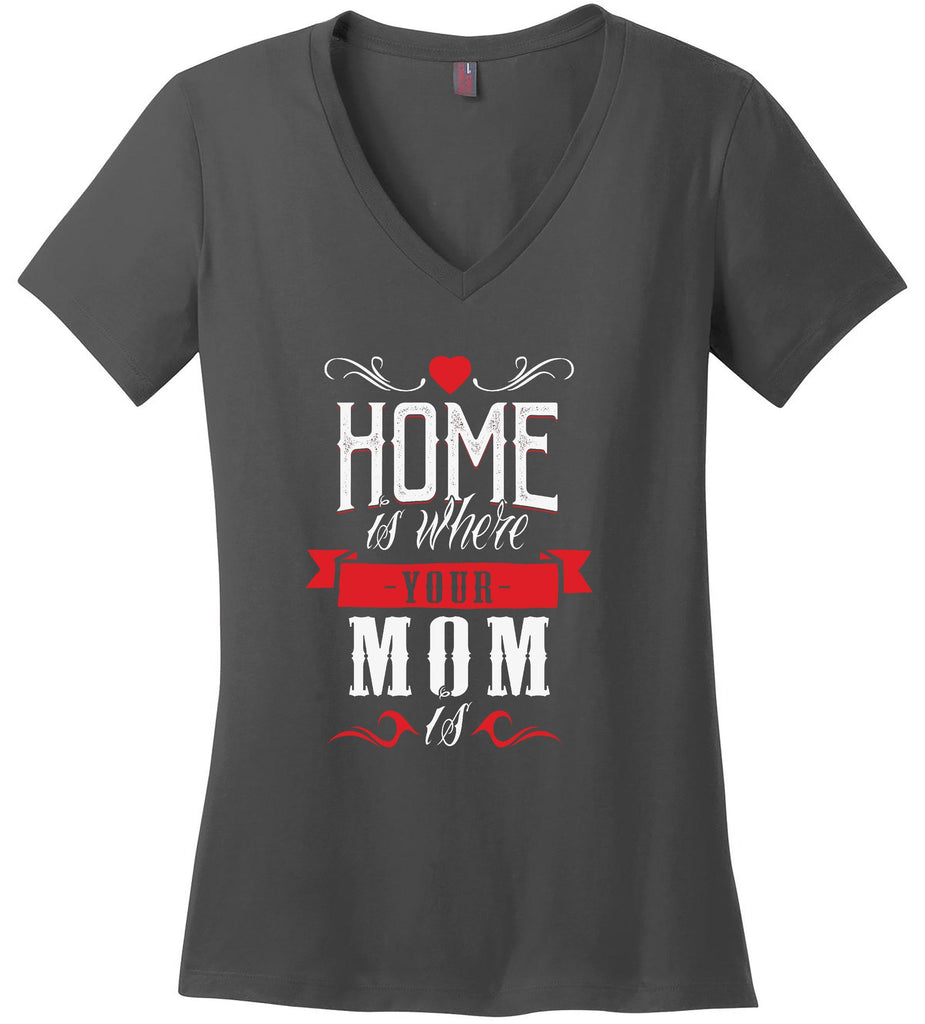 Kent Prints Ladies V-Neck S / Charcoal Ladies V Neck Tee Mom