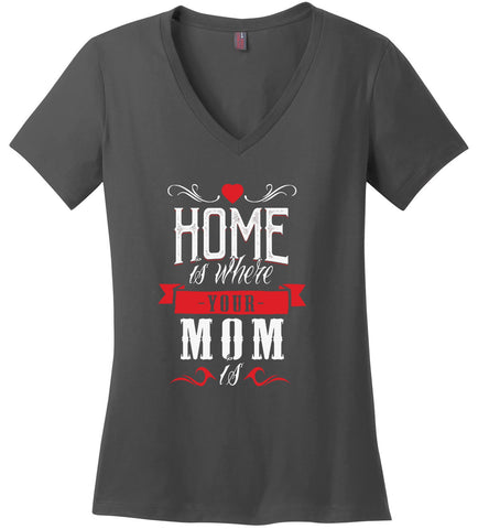 Image of Kent Prints Ladies V-Neck S / Charcoal Ladies V Neck Tee Mom